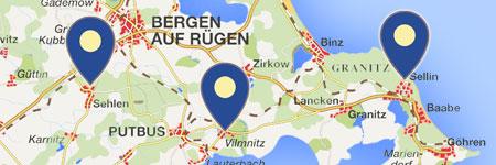 Karte Rügen.Orte Auf Der Insel Rügen Ferienorte A Z